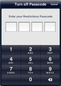 how to disable restrictions on the ipad 2