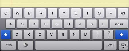 how to type with caps lock on the ipad 2