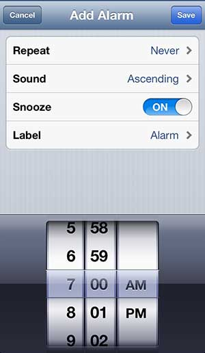 set the options for your alarm clock