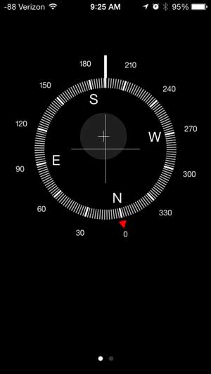 swipe from right to left on the compass