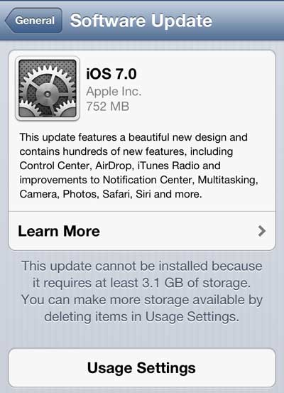 not enough room to install the ios 7 update