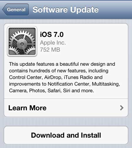 click the download and install button to install ios 7