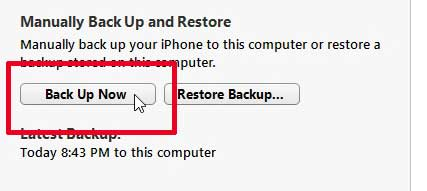 how to backup the iphone 5 in itunes