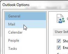 click the mail tab