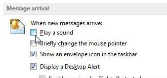 how to turn off the alert sound in outlook 2013