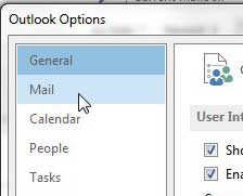 click mail in the left column of outlook options window
