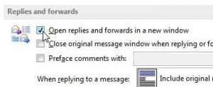How to Pop Out Replies and Forwards by Default in Outlook 2013