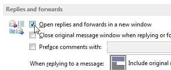 how to pop out replies and forwards in outlook 2013