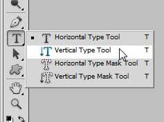 select the vertical type tool