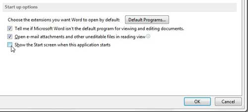 stop showing the start screen when you launch Word 2013