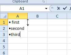 how to create bullet lists in excel 2010