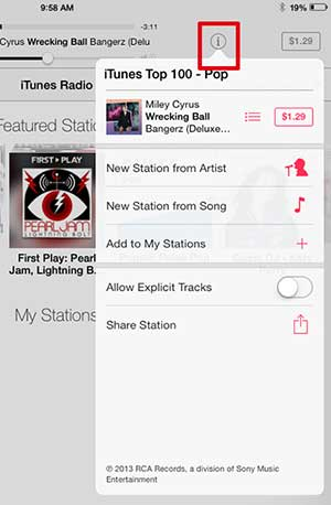 touch the info button to display some additional radio options