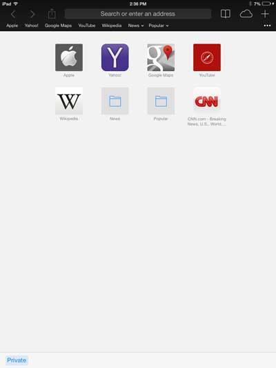 example of private browsing window in ios 7 on ipad 2