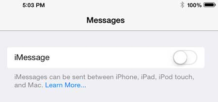 stop receiving text messages on the ipad 2 in ios 7