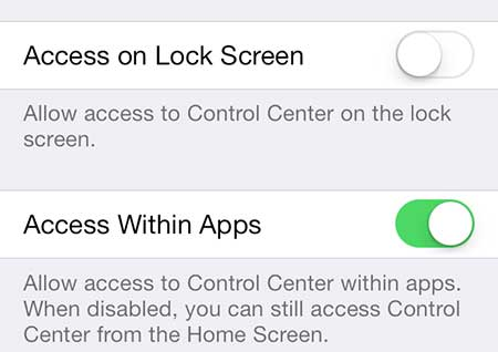 how to disable the control center on the ios 7 lock screen