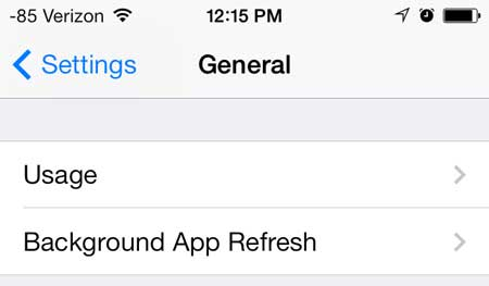 open the ios 7 usage menu
