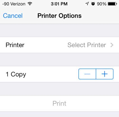 touch the select printer button