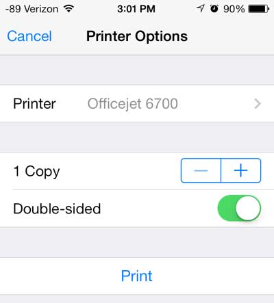 how to print in ios 7 on the iphone 5 in the safari browser