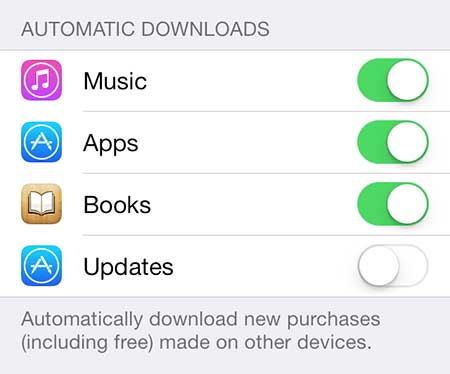 how to turn off automatic updates in ios 7 on the iphone 5