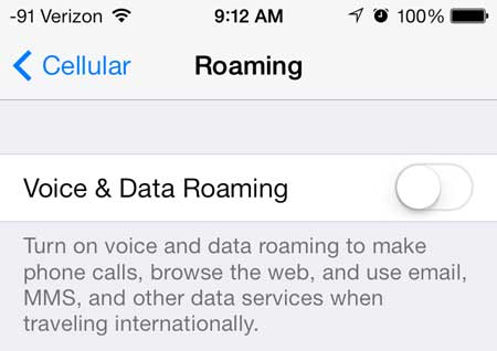 how to turn off roaming on the iphone 5 in ios 7