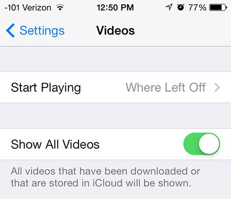 how to view tv show cloud episodes in ios 7 on the iphone 5