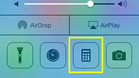 touch the calculator icon at the bottom of the control center
