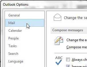 click mail at the top-left corner of the window
