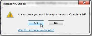 how to empty the auto-complete list in outlook 2013