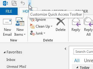 click the customize quick access toolbar button