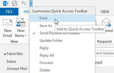 faster way to print in outlook 2013