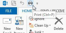a print button added to outlook 2013