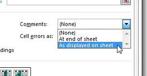 how to print comments in excel 2013
