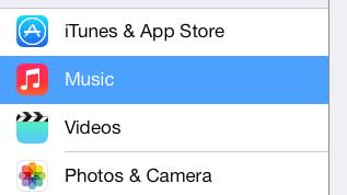 touch the music option in the left column