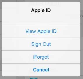 how to sign out of an apple id on the ipad