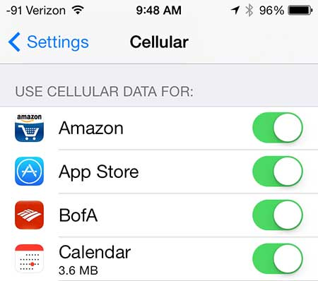 choose which apps use cellular data on iphone 5