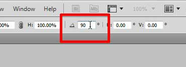 how to rotate a single layer by 90 degrees in photoshop cs5