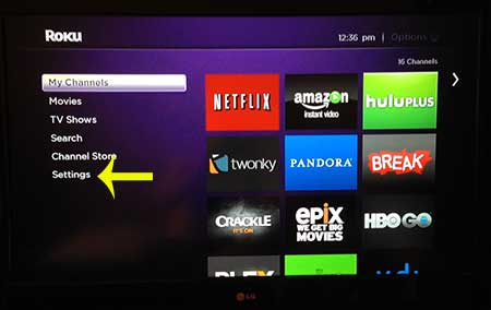 open the roku 1 settings menu