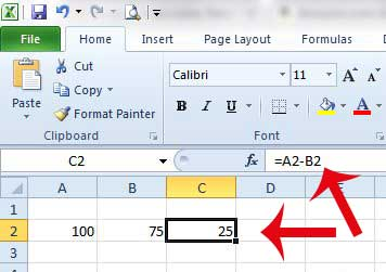 how to add and subtract in excel 2010