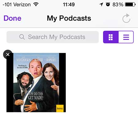 touch the x button at the top left corner of the podcast icon