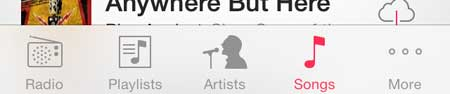 open the songs tab