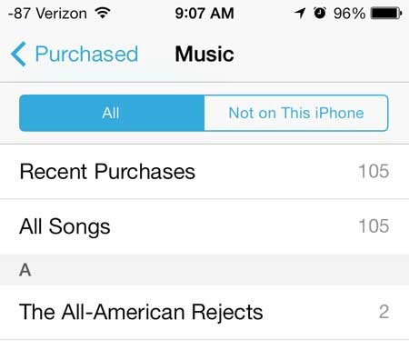 select the all songs option or the artist of the song you want to download