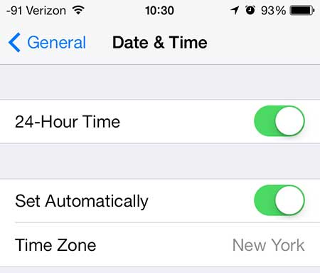 how to switch to 24-hour time on the iphone 5