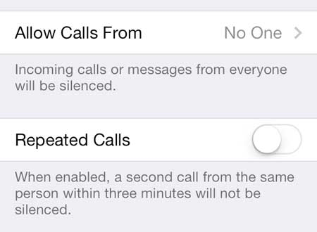turn off the repeated calls option