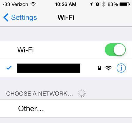 confirm that you're connected to the wi-fi network