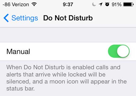 how to turn on the do not disturb feature on the iphone 5