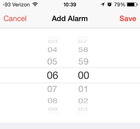 select the time for the alarm