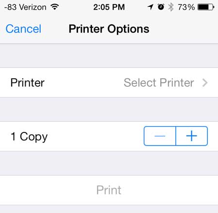 how to print a note from the iphone 5