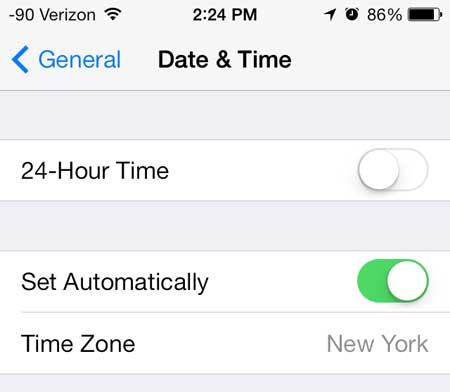 how to update iphone 5 time automatically