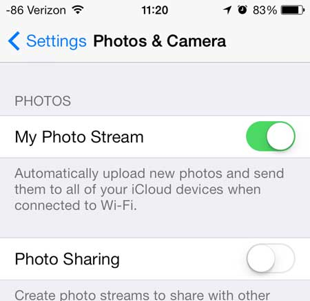 move the my photo stream slider from right to left