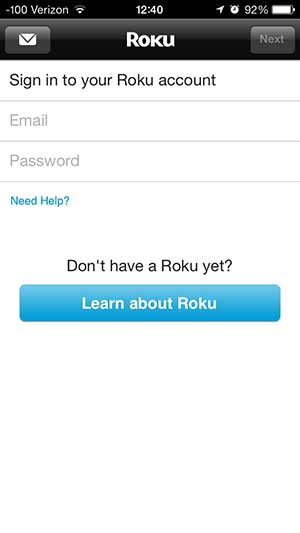 enter the email adress and password for your roku account